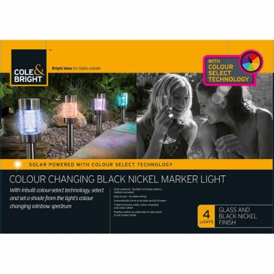 Cole and Bright Solar Colour Changing Black Nickel Marker Light